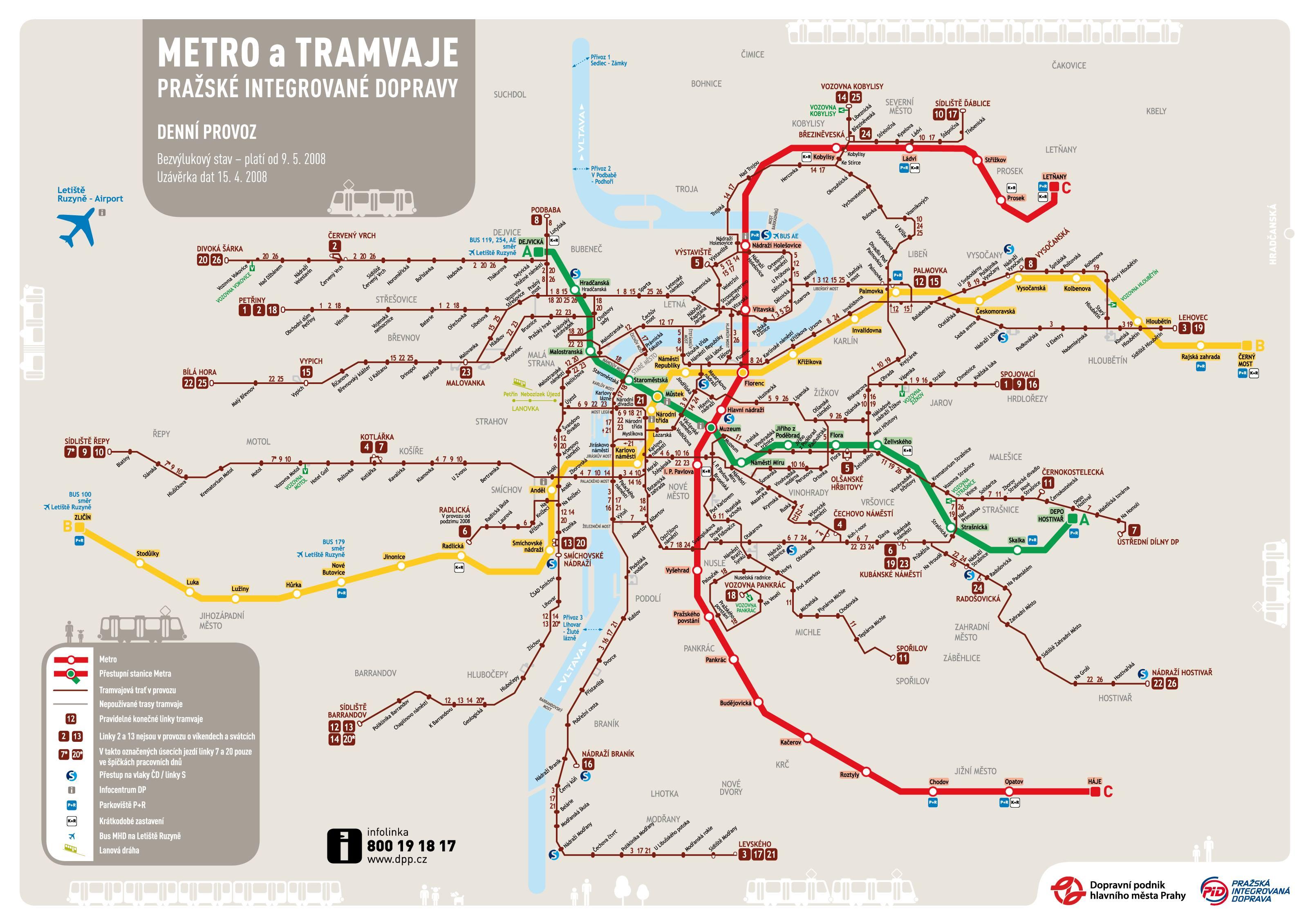 Mapa prahy metro